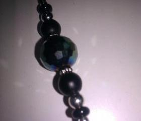 Rare Mat Black Onyx Sterling and Multi Green Swarovski Pendant
